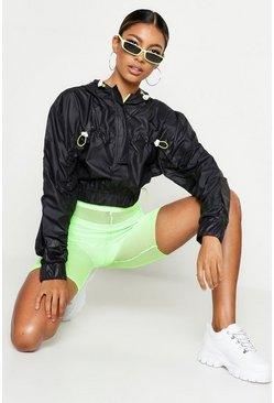 Womens Black Neon Detail Windbreaker