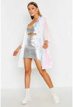 Womens Pink Sequin Panelled Kimono