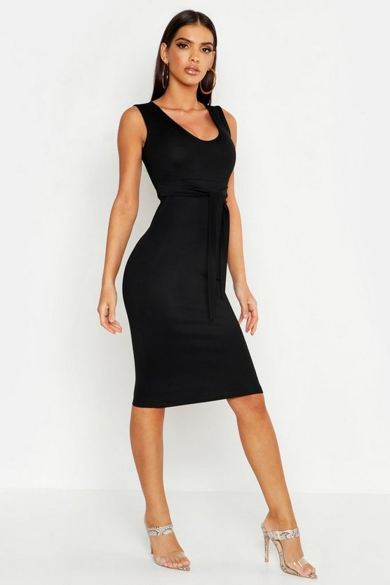 Womens Black Tie Front Sleeveless Midi Dress