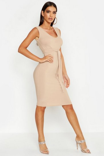 Womens Stone Tie Front Sleeveless Midi Dress