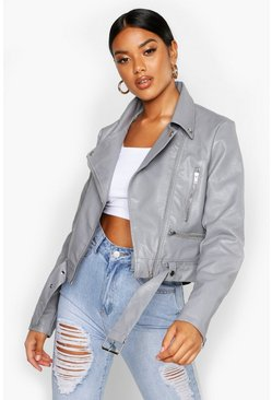 Grey Faux Leather Biker Jacket