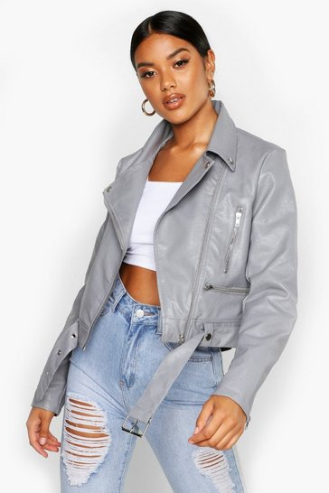 Womens Grey Faux Leather Biker Jacket