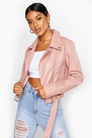 Womens Pink Faux Leather Biker Jacket
