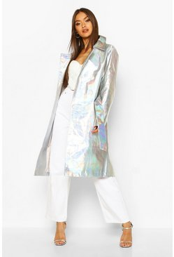 Womens Silver Holographic Trench Coat