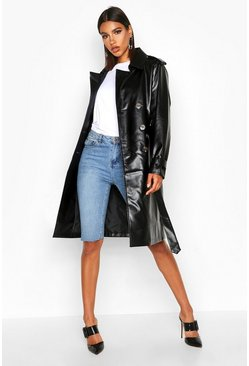 Womens Black Faux Leather Trench Coat