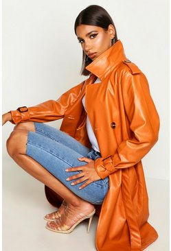 Womens Rust Faux Leather Trench Coat