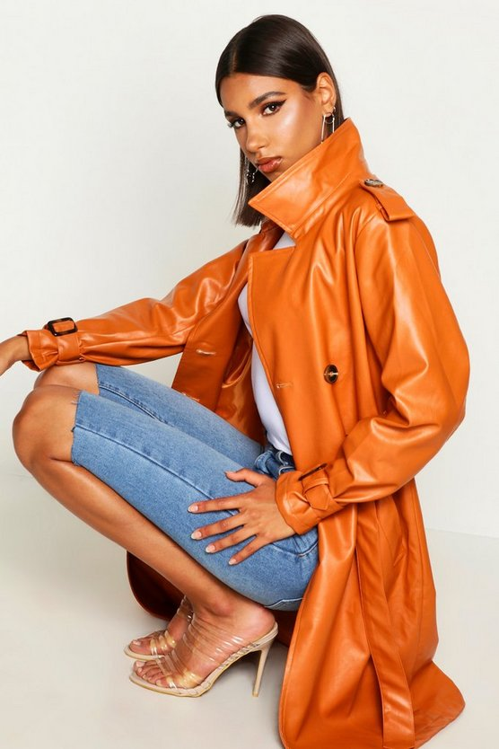 Faux Leather Trench Coat by Boohoo