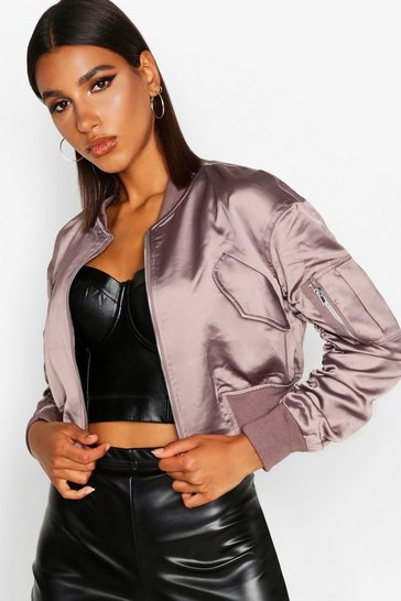 f3efcb6cf Satin Pocket Detail Bomber Jacket