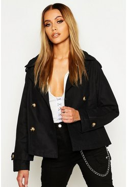 Womens Black Double Breasted Belted Short Trench