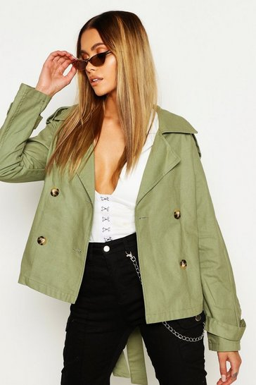 Womens Khaki Double Breasted Belted Short Trench