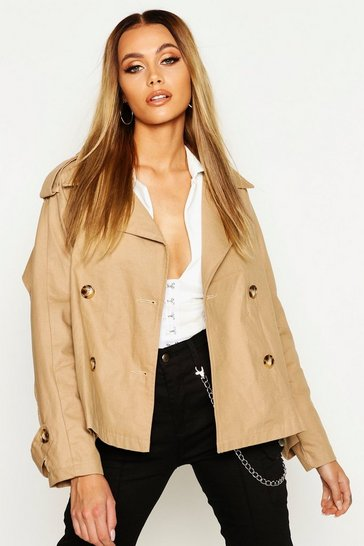 Womens Stone Double Breasted Belted Short Trench
