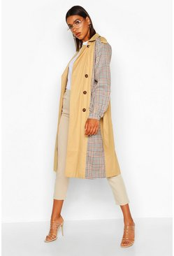 Womens Stone Check Panel Trench Coat