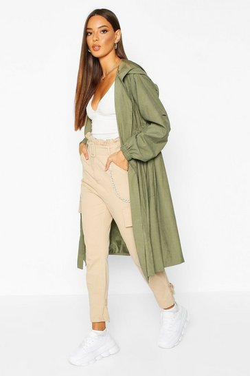 Womens Khaki Hooded Belted Trench Coat