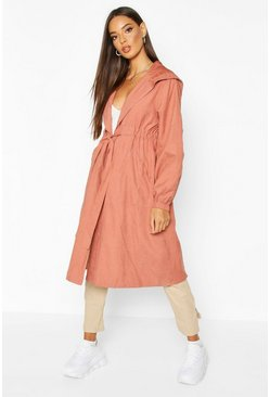 Womens Rose Hooded Belted Trench Coat