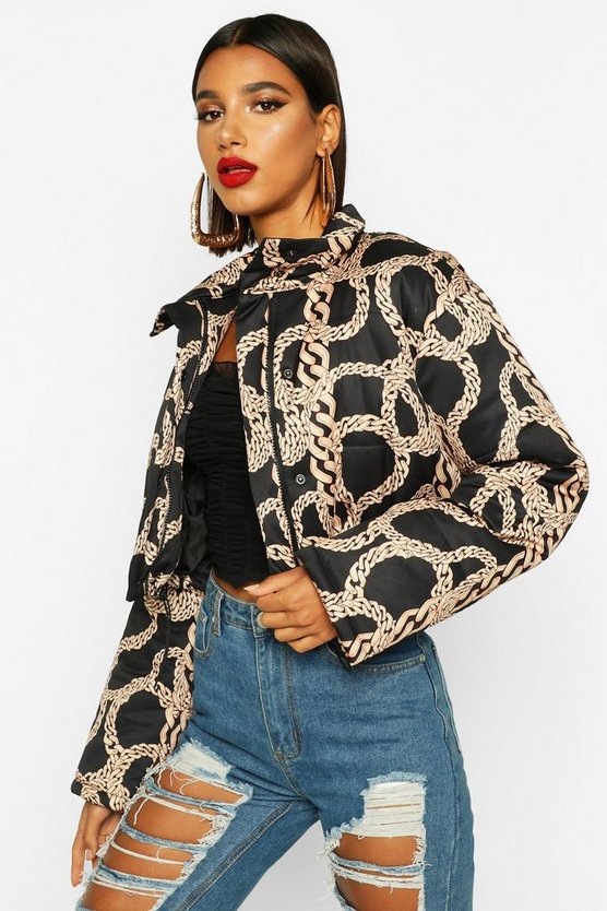 Womens Black Crop Chain Print Puffer Jacket