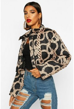 Black Crop Chain Print Puffer Jacket