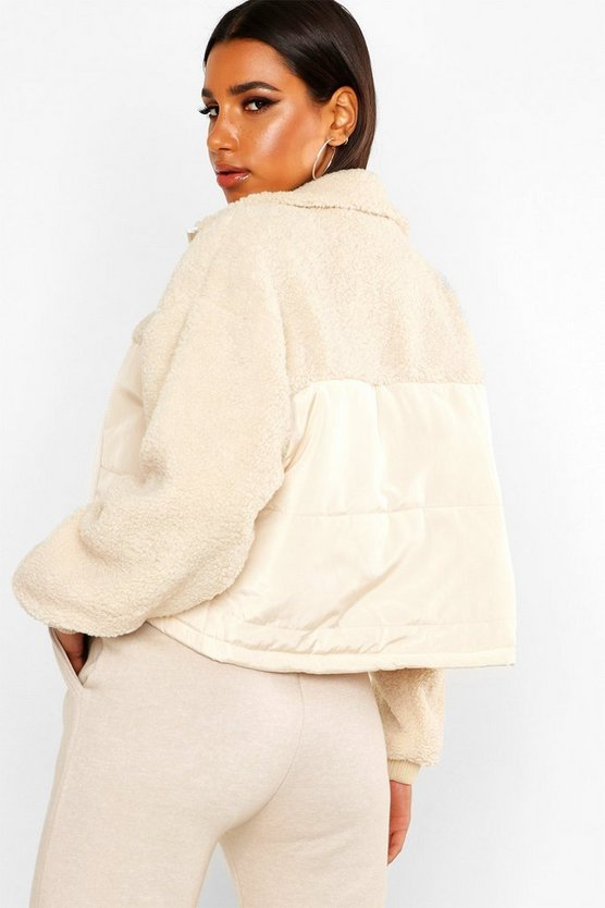 Teddy Faux Fur Panel Puffer Jacket