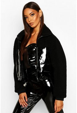 Black Vinyl Faux Fur Teddy Panel Puffer Jacket
