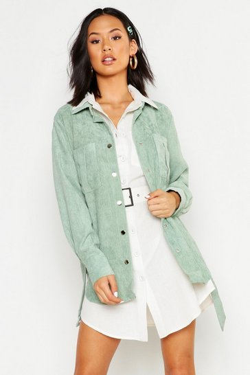 Womens Sage Belted Cord Oversized Jacket
