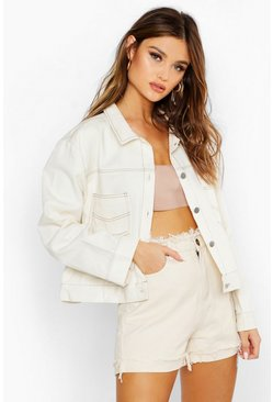 Womens Cream Contrast Stitch Utility Jacket