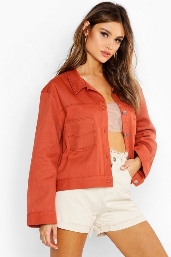 Womens Rose Contrast Stitch Utility Jacket