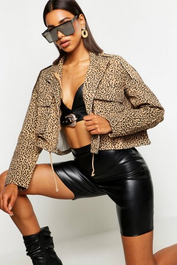 Womens Natural Leopard Print Utility Jacket