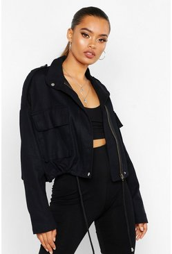 Womens Black Double Pocket Utility Jacket