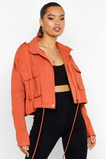 Womens Rust Double Pocket Utility Jacket