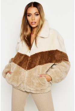Womens Natural Tonal Stripe Teddy Faux Fur Bomber