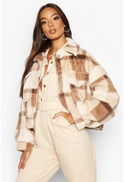 Brown Check Faux Fur Trucker Jacket