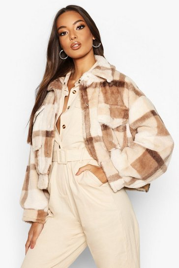 Womens Brown Check Faux Fur Trucker Jacket