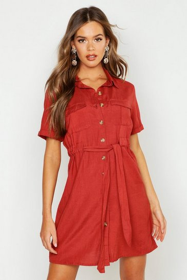Womens Rust Utility Pocket Belted Shift Dress