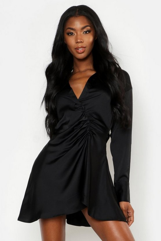 Womens Black Satin Ruched Detail Button Sleeve Shirt Dress