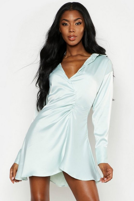 Sage Satin Ruched Detail Button Sleeve Shirt Dress