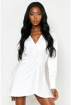 Womens White Satin Ruched Detail Button Sleeve Shirt Dress