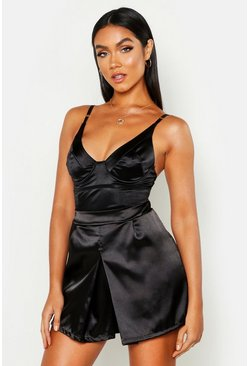 Womens Black Satin Tailored Short