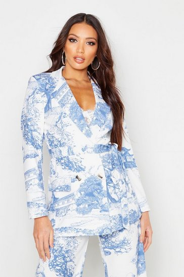 Womens Blue All Over Printed Belted Blazer