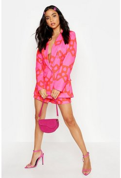 Womens Pink Chain Print Double Breasted Blazer