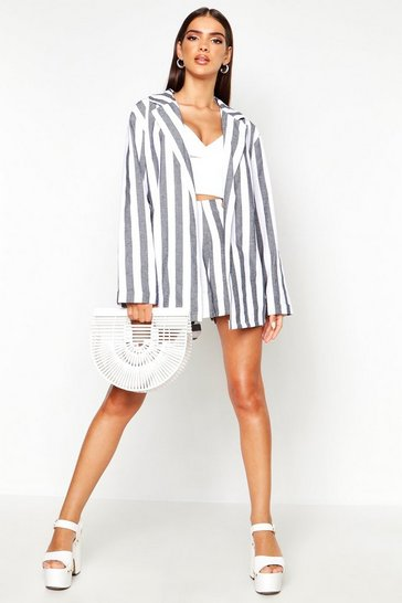 Womens Blue Stripe Linen Belted Blazer