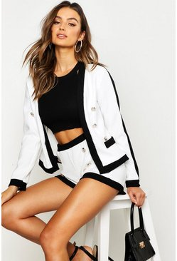 White Tweed Edge To Edge Cropped Jacket