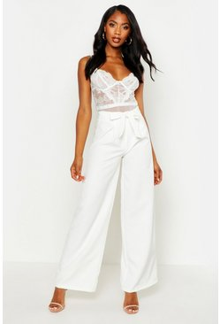 Womens Ivory Belted High Waist Wide Leg Pants