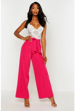 Womens Pink Belted High Waist Wide Leg Trouser
