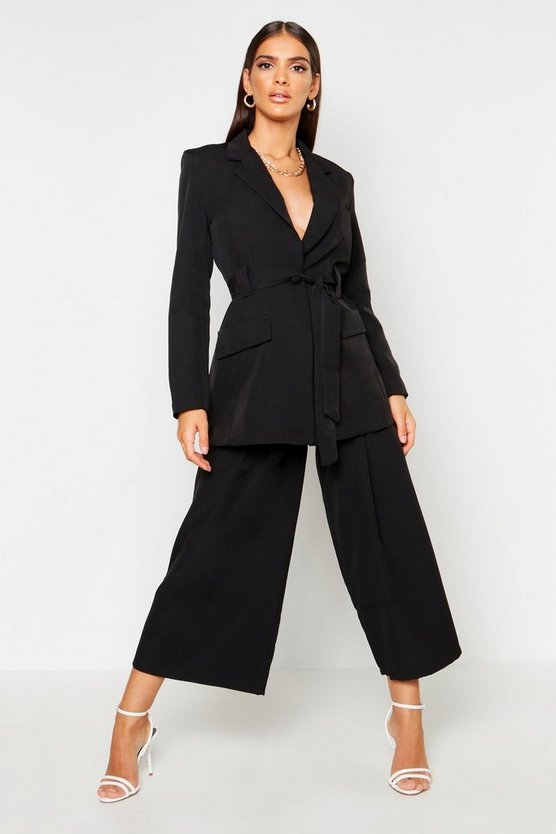 Womens Black Pleated Wide Leg Pants
