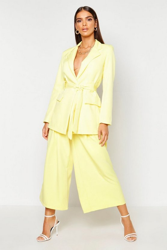 Lemon Pleated Wide Leg Pants