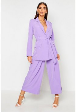 Womens Lilac Pleated Wide Leg Trouser