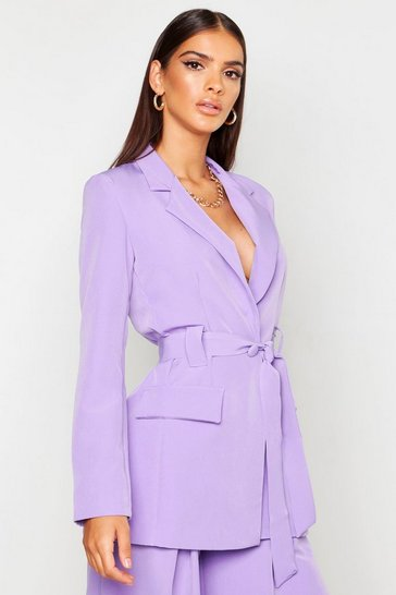 Womens Lilac Belted Tailored Blazer