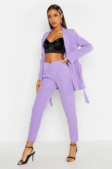 Womens Lilac Waist Band Detail Tapered Trouser