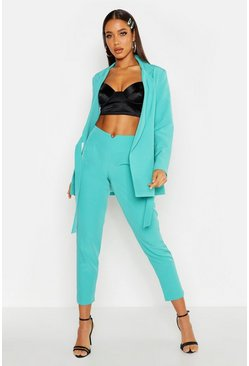 Womens Teal Waist Band Detail Tapered Pants