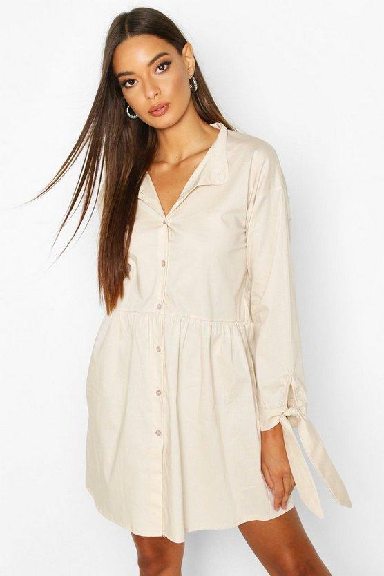 Button Through Cotton Shirt Smock Dress