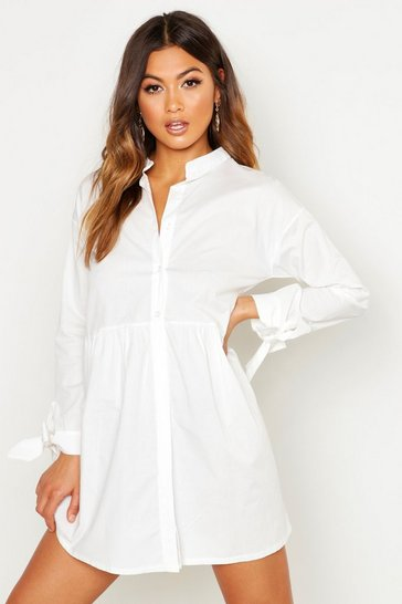 Womens White Button Through Cotton Shirt Smock Dress